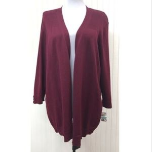 Karen Scott NWT Cardigan Sweater 3/4 Sleeves Red